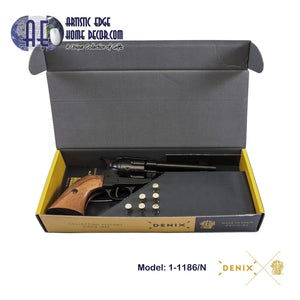 "Denix Replica .45 Cal. Peacemaker 4.75"" Single Action Army, Fast Draw Revolver, USA 1873  Gift Box"