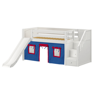 Maxtrix Twin Low Loft Bed with Stairs, Curtain + Slide