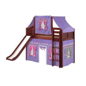 Maxtrix Twin Mid Loft Bed with Straight Ladder, Curtain, Top Tent + Slide