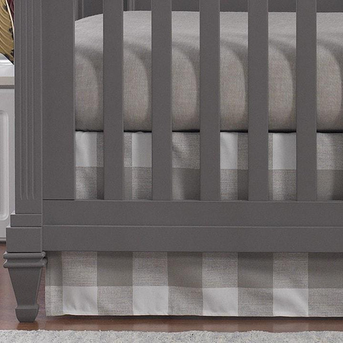 "Liz & Roo Buffalo Check (Taupe) Crib Skirt 17"" Drop"