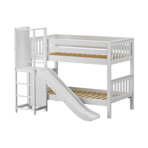 Maxtrix Twin Low Bunk Bed with Slide Platform