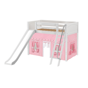 Maxtrix Twin Mid Loft Bed with Angled Ladder, Curtain + Slide