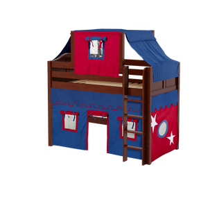 Maxtrix Twin Mid Loft Bed with Straight Ladder, Curtain + Top Tent