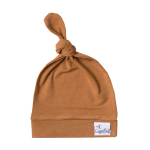 Copper Pearl Newborn Top Knot Hat - Camel