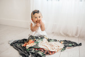 Copper Pearl Knit Swaddle Blanket - Raven