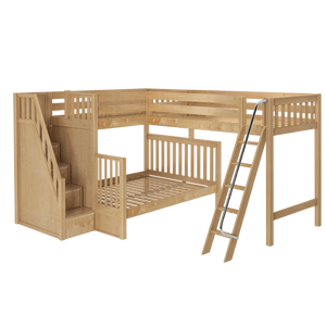 Maxtrix Corner Loft Bunk Bed - Twin XL over Queen + Twin XL
