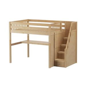 Maxtrix Full High Loft Bed with Stairs + Desk