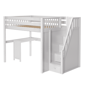 Maxtrix Full High Loft Bed with Stairs + Corner Desk