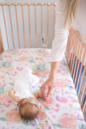 Copper Pearl Cotton Fitted Crib Sheet - Bloom
