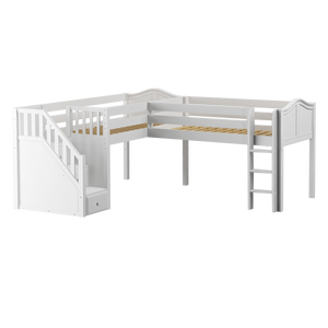 Maxtrix Twin Low Corner Loft Bed with Ladder + Stairs - L
