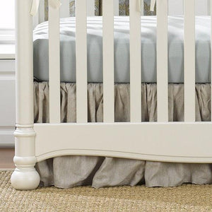 "Liz & Roo Flax Linen Gathered Crib Skirt 16"" Drop"