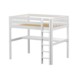 Maxtrix Full High Loft Bed with Straight Ladder + Desk