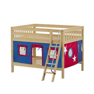 Maxtrix Full Low Bunk Bed with Angled Ladder + Curtain