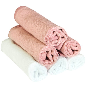 6 Bamboo Wash Cloths - Pink/White - Copper Pearl - 6