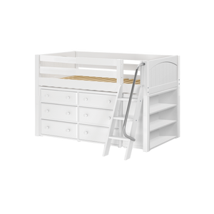 Maxtrix Twin Low Loft Bed with Angled Ladder + Storage
