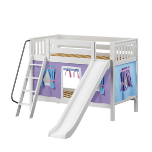 Maxtrix Twin Low Bunk Bed with Angled Ladder, Curtain + Slide