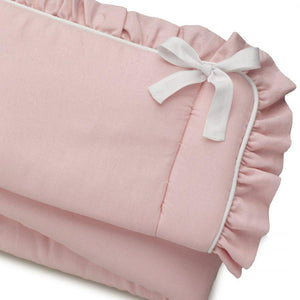 Liz & Roo Petal Pink Linen Blend Crib Rail Cover (Ruffled/White Trim)