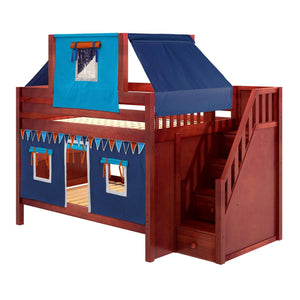 Maxtrix Full Low Bunk Bed with Stairs, Curtain + Top Tent