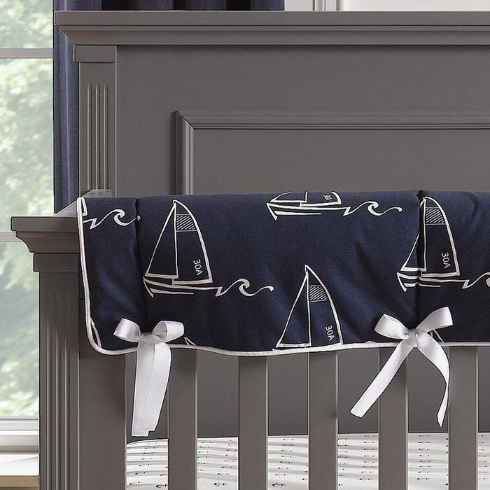 Liz & Roo Nautical Sailboats (Indigo) Crib Rail Cover