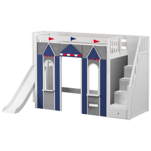 Maxtrix Twin High Loft Bed with Stairs, Slide Platform + Playhouse Panels