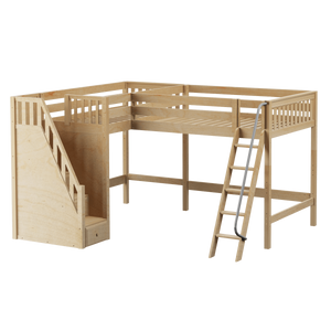 Maxtrix Twin Full High Corner Loft Bed with Ladder + Stairs - L