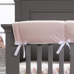 Liz & Roo Petal Pink Linen Blend Crib Rail Cover (White Trim)