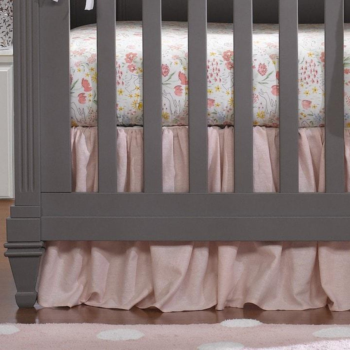 "Liz & Roo Petal Pink Linen Blend Gathered Crib Skirt 16"" Drop"