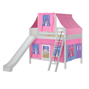 Maxtrix Full Medium Bunk Bed with Angled Ladder, Curtain, Top Tent + Slide