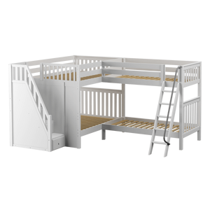 Maxtrix Full High Corner Bunk Bed with Ladder + Stairs - L