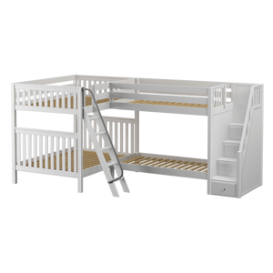 Maxtrix Full High Corner Bunk Bed with Ladder + Stairs - R