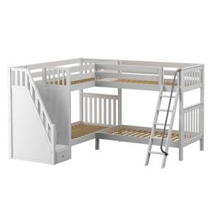 Maxtrix Twin High Corner Bunk Bed with Ladder + Stairs - L