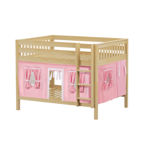 Maxtrix Full Low Bunk Bed with Straight Ladder + Curtain