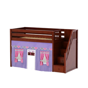 Maxtrix Twin Mid Loft Bed with Stairs + Curtain