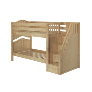 Maxtrix Twin Low Bunk Bed with Stairs