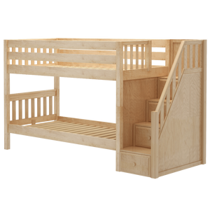 Maxtrix Twin XL Low Bunk Bed with Stairs