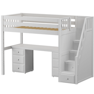 Maxtrix Twin XL High Loft Bed with Stairs + Desk