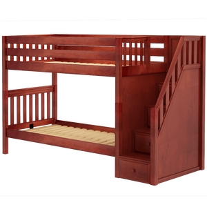 Maxtrix Twin XL Medium Bunk Bed with Stairs