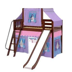 Maxtrix Twin Mid Loft Bed with Angled Ladder, Curtain, Top Tent + Slide