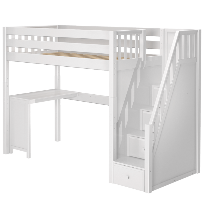 Maxtrix Twin XL High Loft Bed with Stairs + Corner Desk