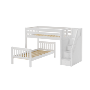 Maxtrix Full L-Shaped Bunk Bed with Stairs