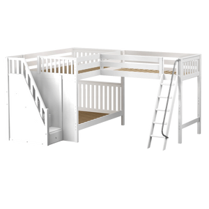 Maxtrix Full High Corner Loft Bunk Bed with Ladder + Stairs - L