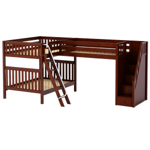 Maxtrix Full High Corner Loft Bunk Bed with Ladder + Stairs - R