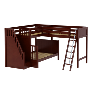 Maxtrix High Twin over Full Corner Loft Bunk Bed with Ladder + Stairs