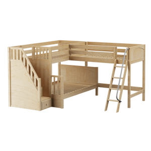 Maxtrix Medium Twin over Full Corner Loft Bunk Bed with Ladder + Stairs (Left)