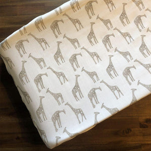 Liz & Roo Giraffe (Taupe) Contoured Changing Pad Cover