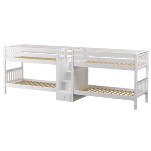 Maxtrix Twin Low Quadruple Bunk Bed with Stairs