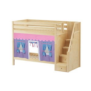 Maxtrix Twin High Bunk Bed with Stairs + Curtain