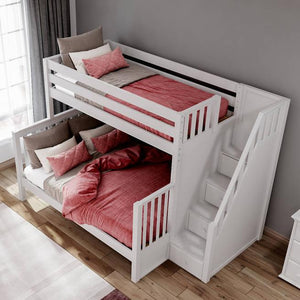 Maxtrix High Twin XL over Queen Bunk Bed with Stairs