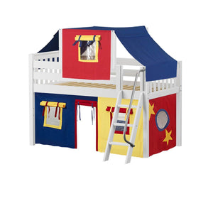 Maxtrix Twin Low Loft Bed with Angled Ladder, Curtain + Top Tent