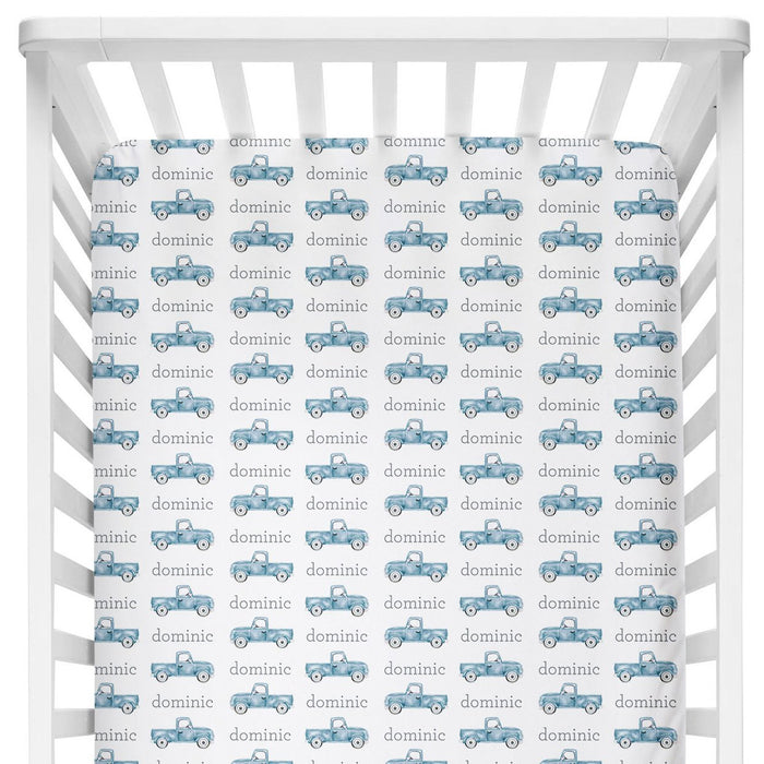 Sugar + Maple Crib Sheet - Truck Blue